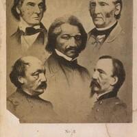 Frederick Douglass and four unidentified men, c. 1865-1870